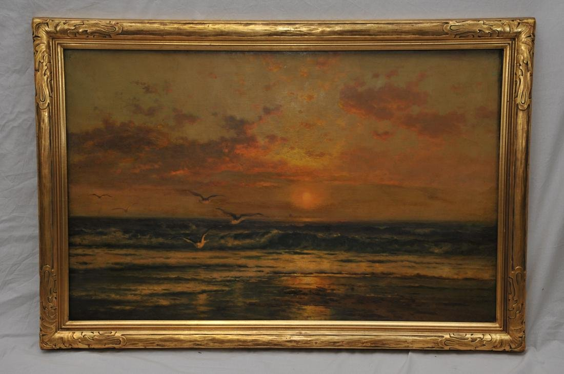Edward Moran. Large luminous sunset seascape painting