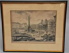 Giovanni Battista Piranesi. Large framed etching of