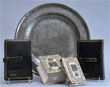 Five piece Judaica lot Large 18th century Pewter