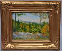 Emmelie K. Greenough. Landscape painting on board.