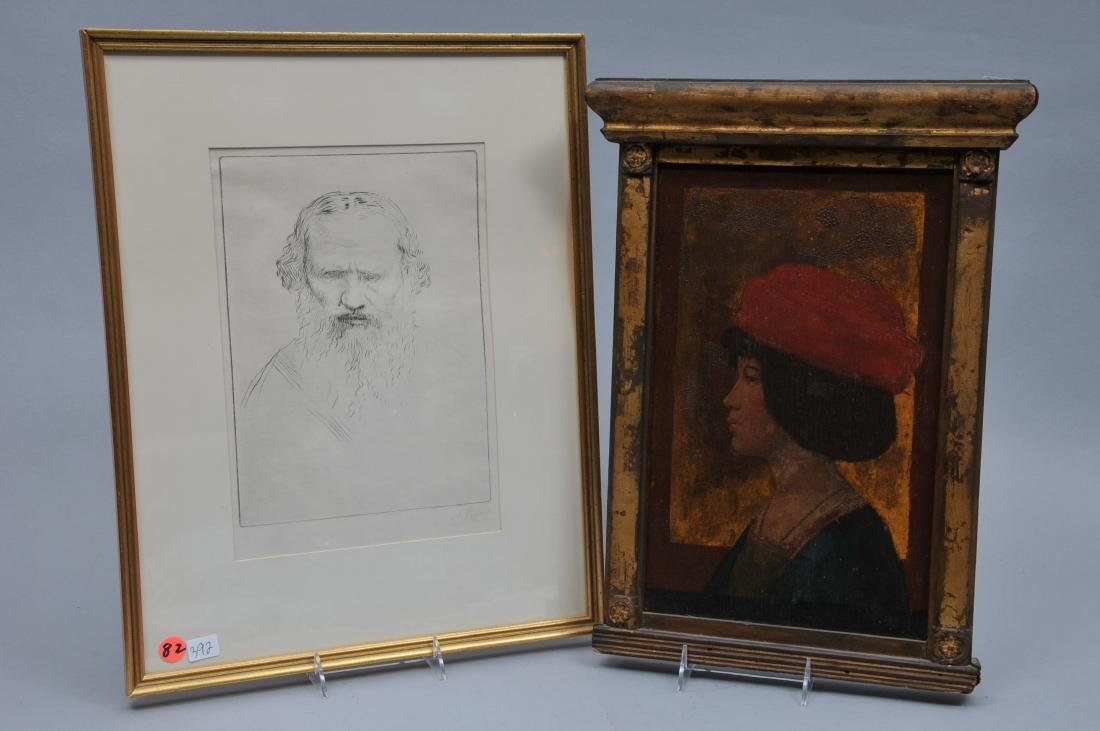 Alphonse Legros portrait of Leon Tolstoi and marked on