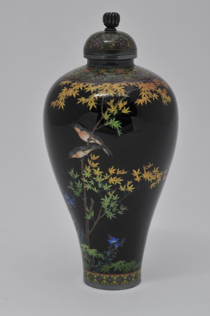 Cloisonne covered jar. Japan. Signed Namikawa Yasuyuki