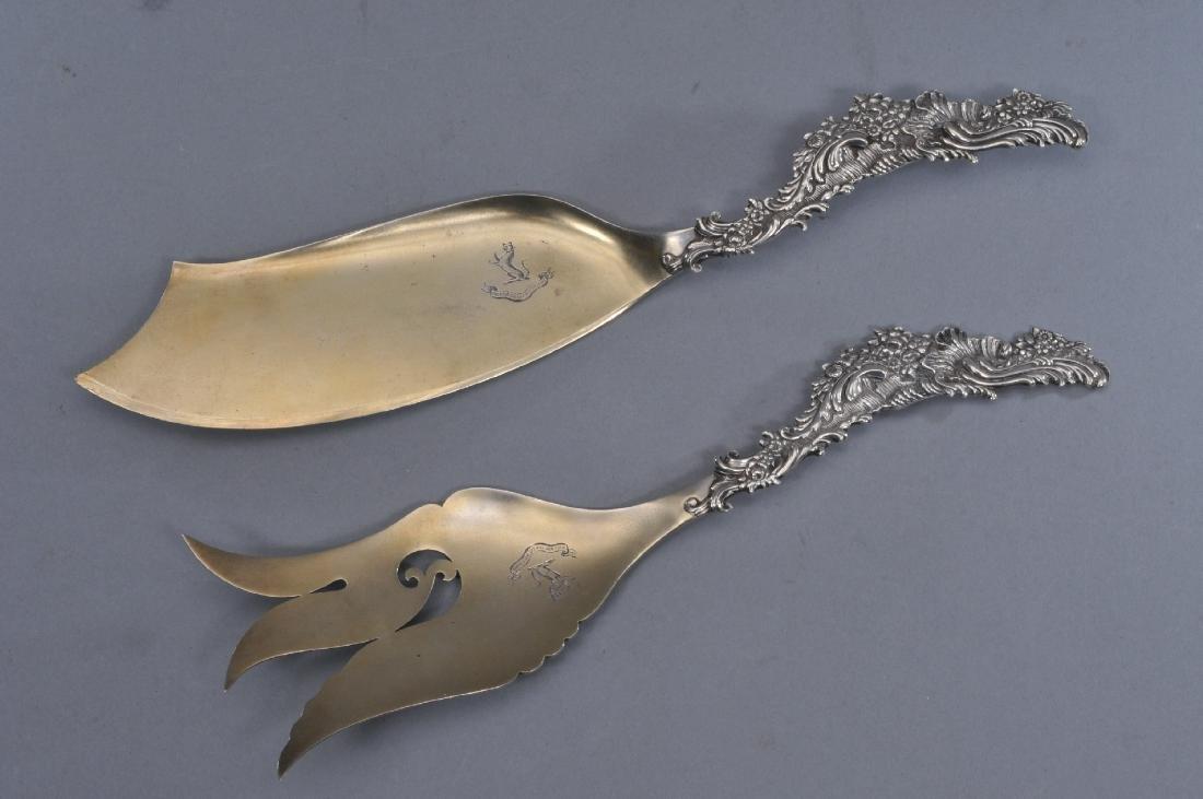Shiebler sterling silver ornate fish set with floral