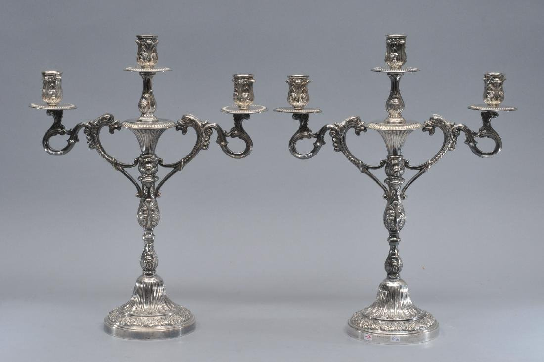 Pair of ornate sterling silver three light candlelabra