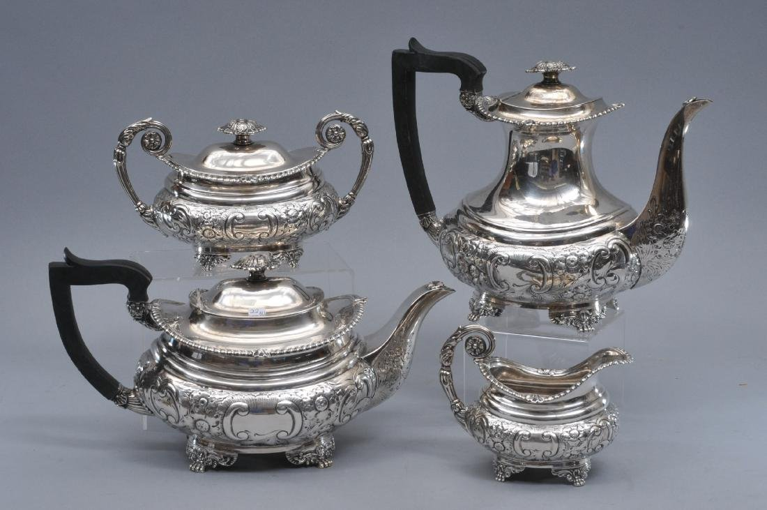Four piece Birmingham, England sterling silver teasest