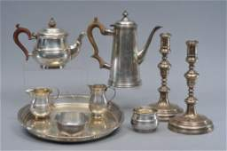 Two sterling silver three piece tea sets along with a