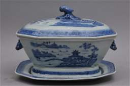 """""""Chinese Export Porcelain"""" .Canton pattern blue and"""