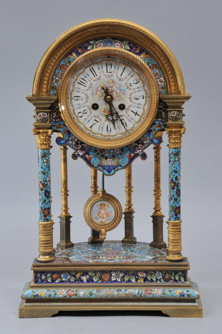 A massive French Champleve mantle clock. The bronze