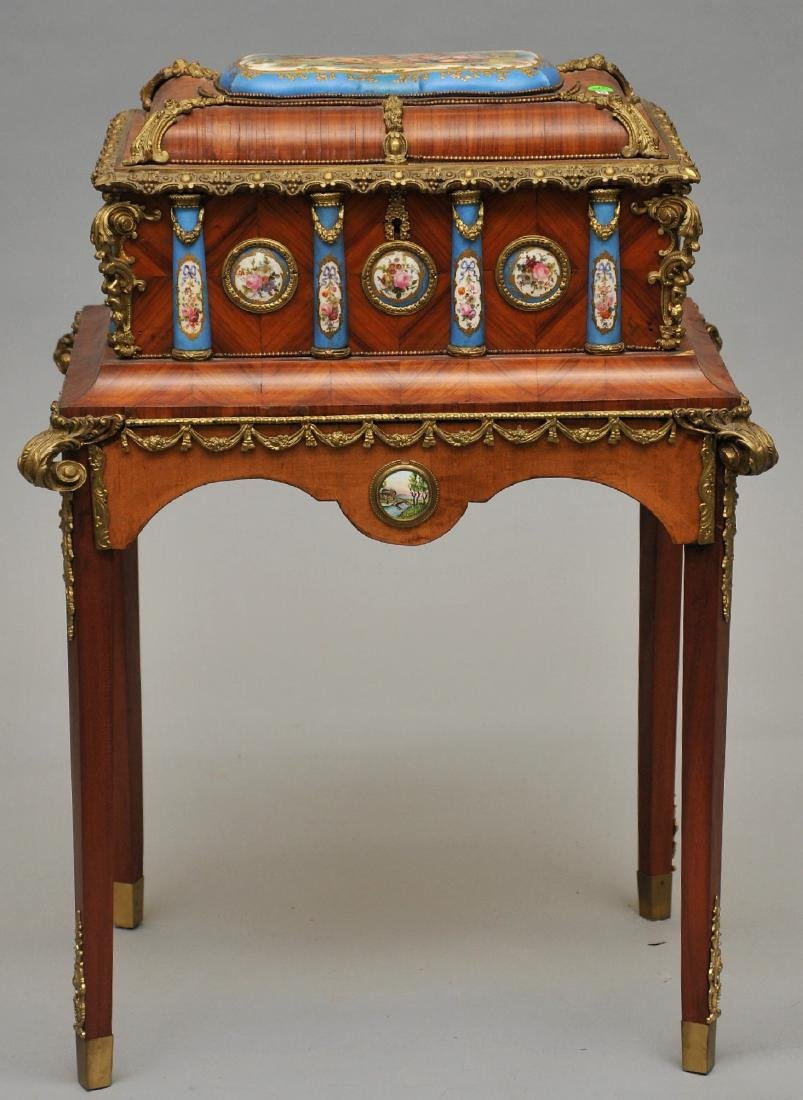 French kingwood bronze and porcelain mounted Sevres or