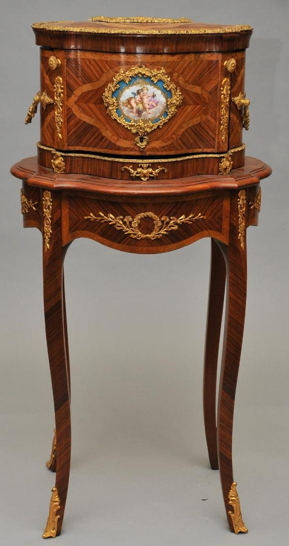 An exceptional French kingwood marquetry inlaid