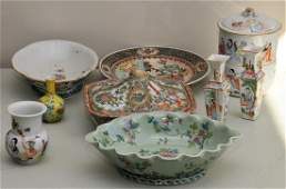 Lot of nine Chinese porcelain items including: Rose