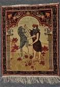 Persian Laver Kirman pictorial carpet. Circa 1910-20.
