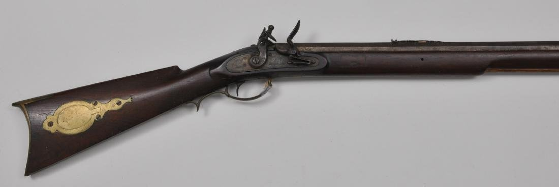 Signed Nathan Moll Match style flintlock rifle. Overall
