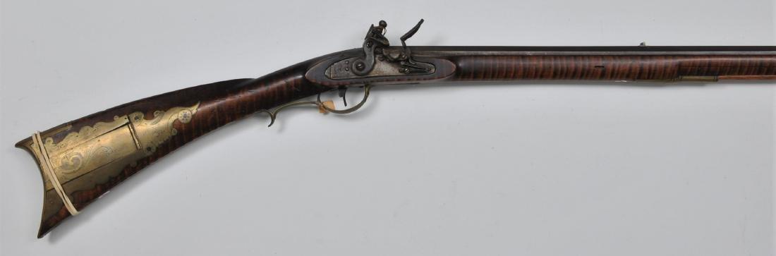 "Signed David Glassbrener Flintlock rifle. 51-5/8"""