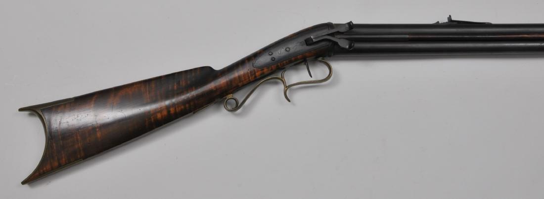 "Signed ""JR"" double barrel over under rifle. 48-3/4"""