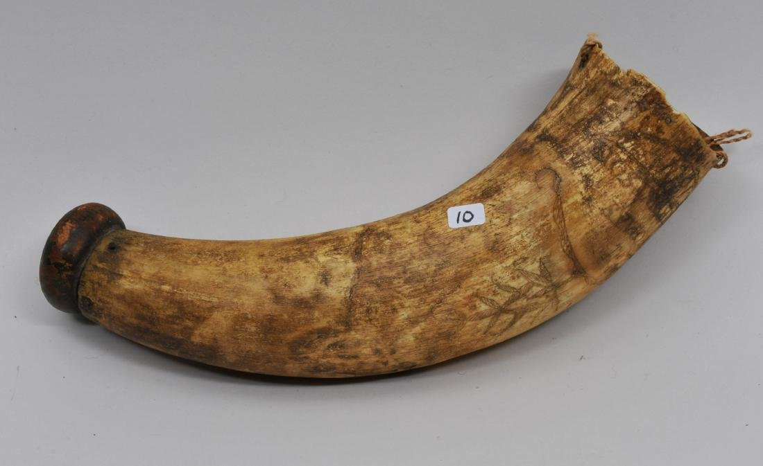 "Antique Powder Horn I'd with the engraving of ""Thomas"