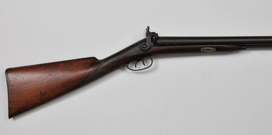 Unmarked percussion double barrel shot gun. 42-15""