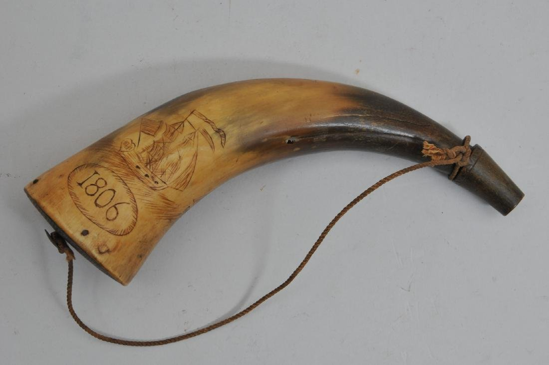 "19th century 8"" Powder Horn dated ""1806"". The horn is"