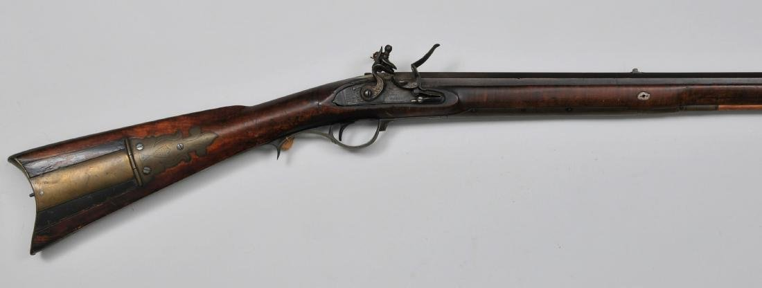 "Signed John Moll Jr. Flintlock rifle. 51-1/4"" overall"