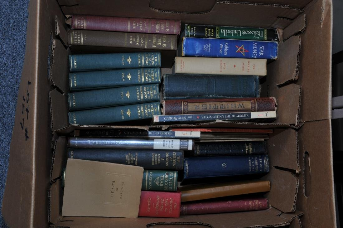 Box lot of books. Most are of American history.
