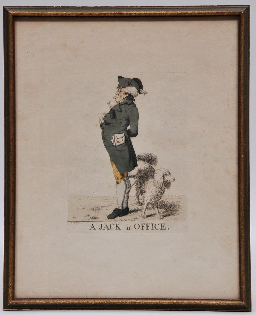 """18th century colored print of """"A Jack in Office""""."""