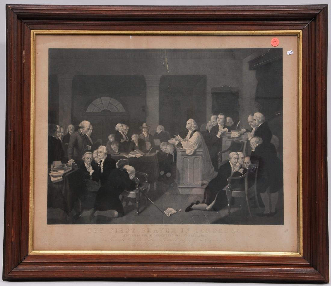"""19th century framed print of """"The First Prayer in"""