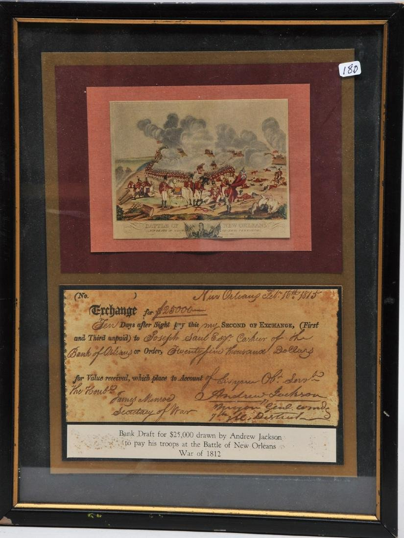 Copy print with the Battle of New Orleans and a Bank