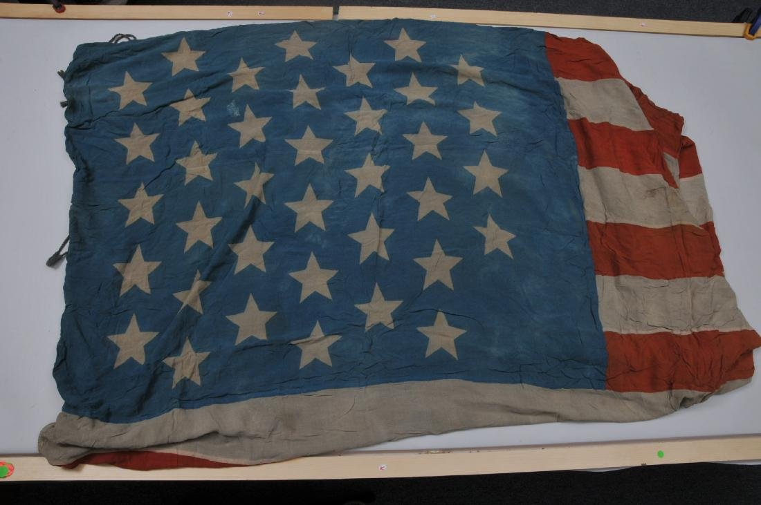 Large 19th century printed 37 star  linen flag. Roped