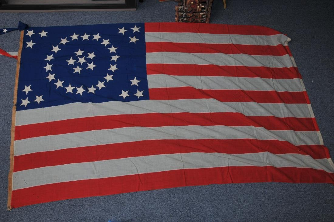 American 19th century 36 Star large hand sewn flag.