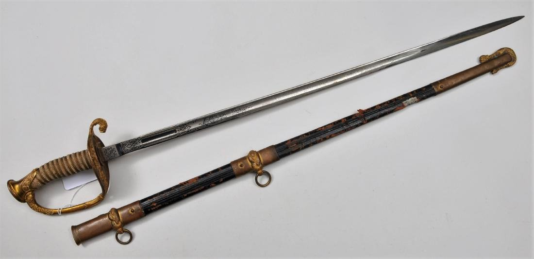 Model 1852 Naval Officer's Sword and Scabbard. Brass