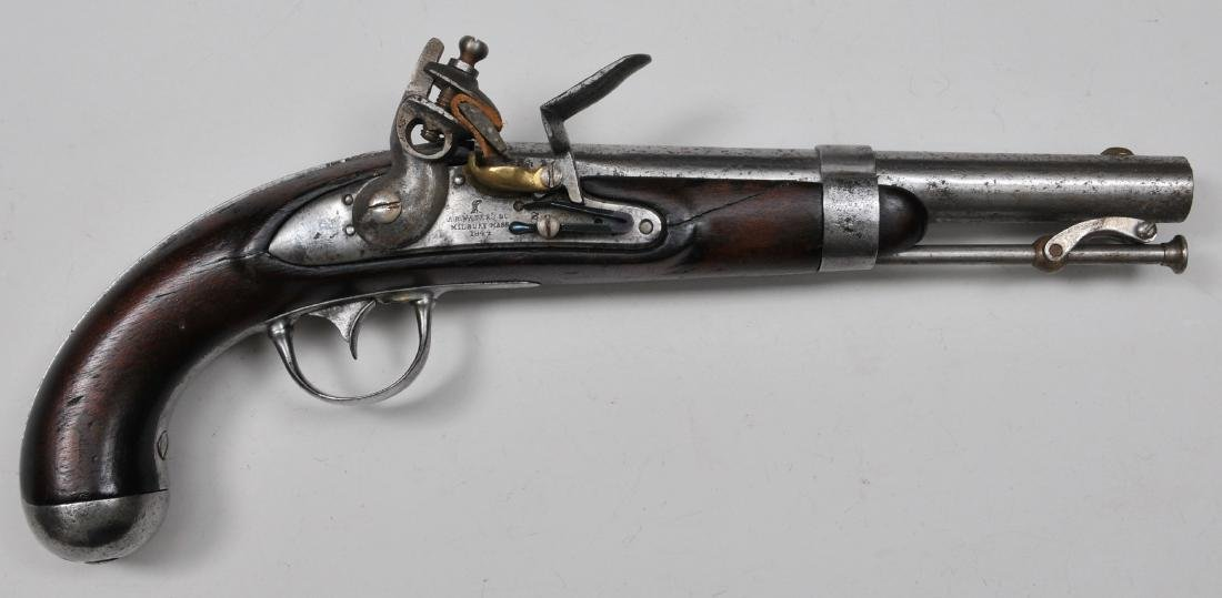 Asa H. Waters model 1836 Flint lock pistol.  Having a
