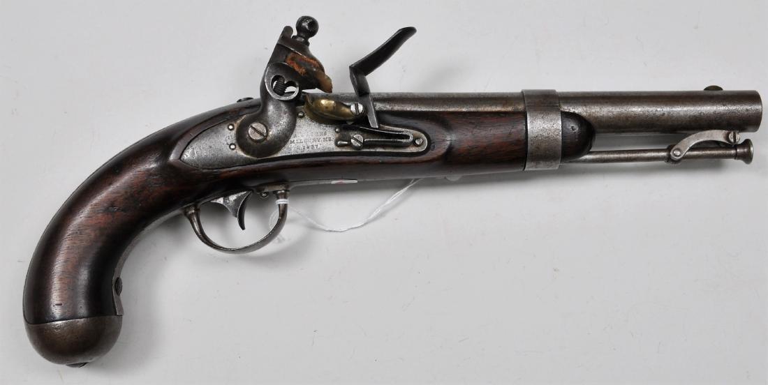 Waters Model 1836 Flintlock pistol with martial stamps.