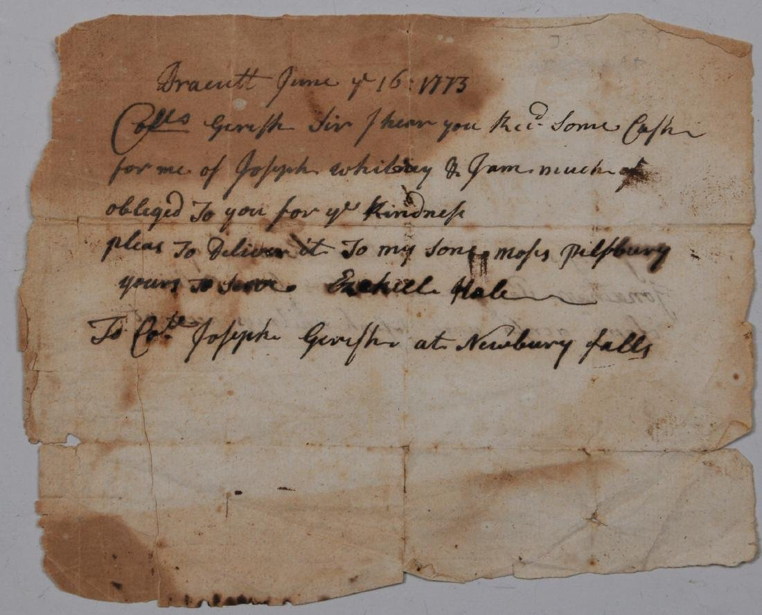 A colonial letter from Captain Ezekiel Hale of Dracutt