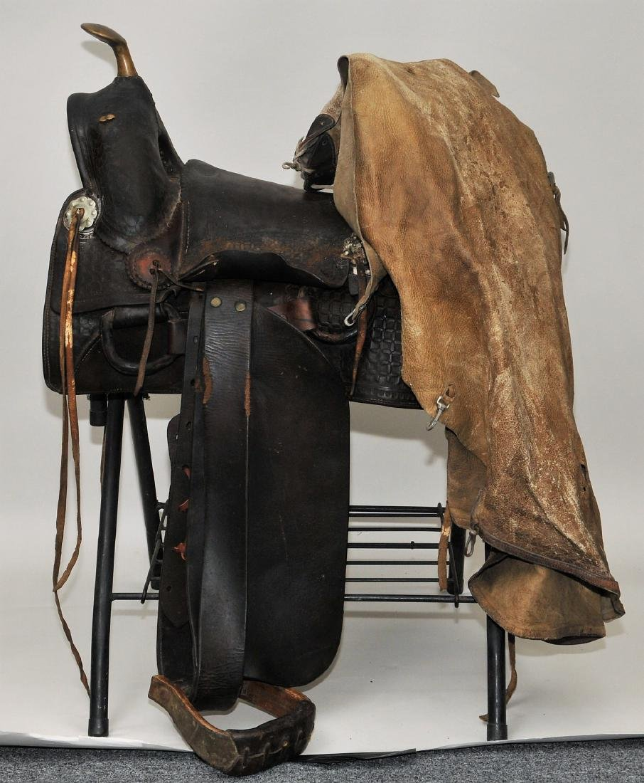 19th century R.T.Frazier saddle with early leggings or