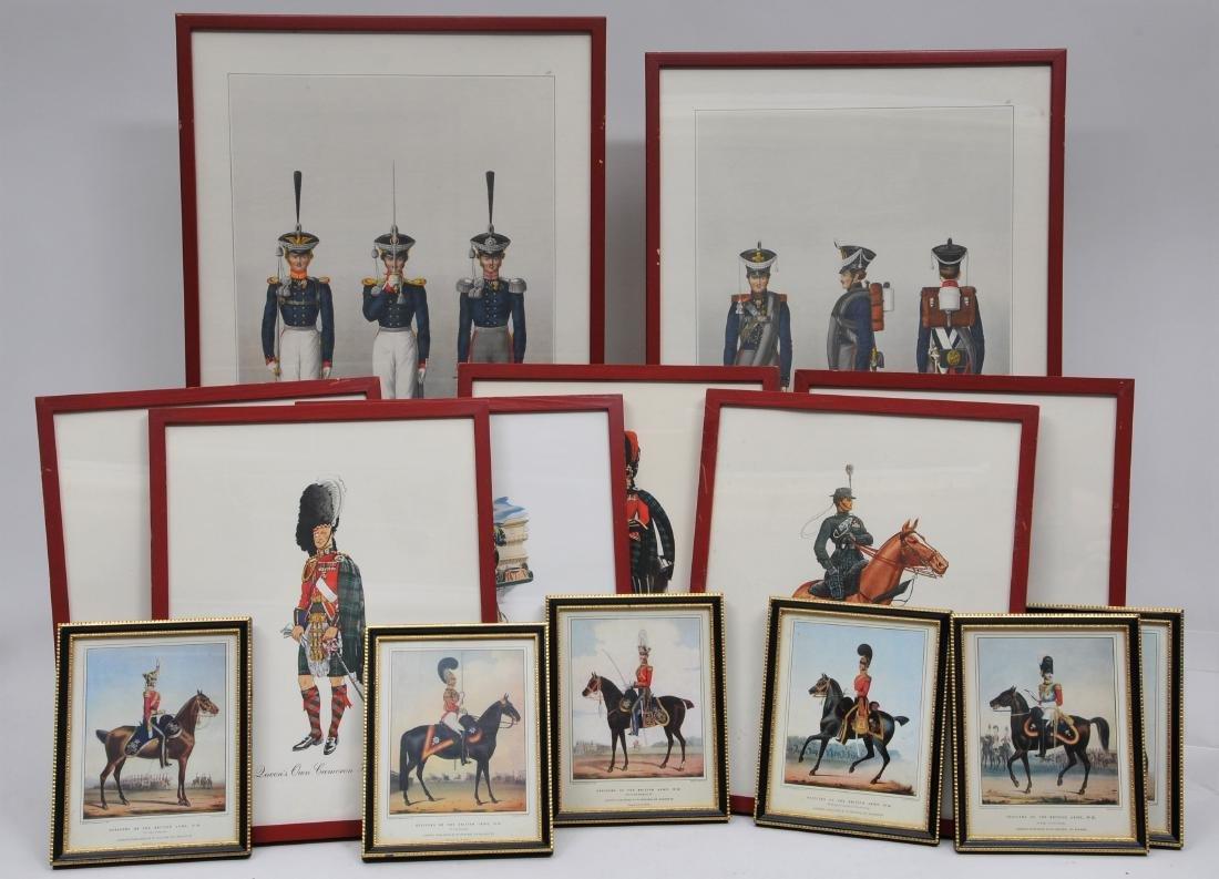 Lot of 14 Framed Regimental Prints including 2 Hubert