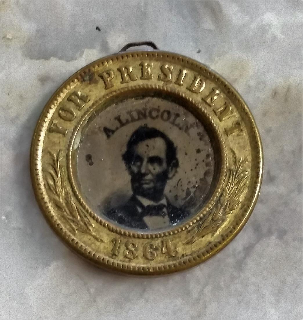Rare Abraham Lincoln 1864 campaign button. Ferrotype p