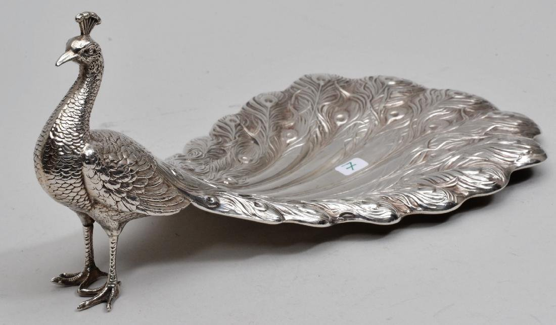 Howard & Co.  Sterling Silver Peacock figural form dish