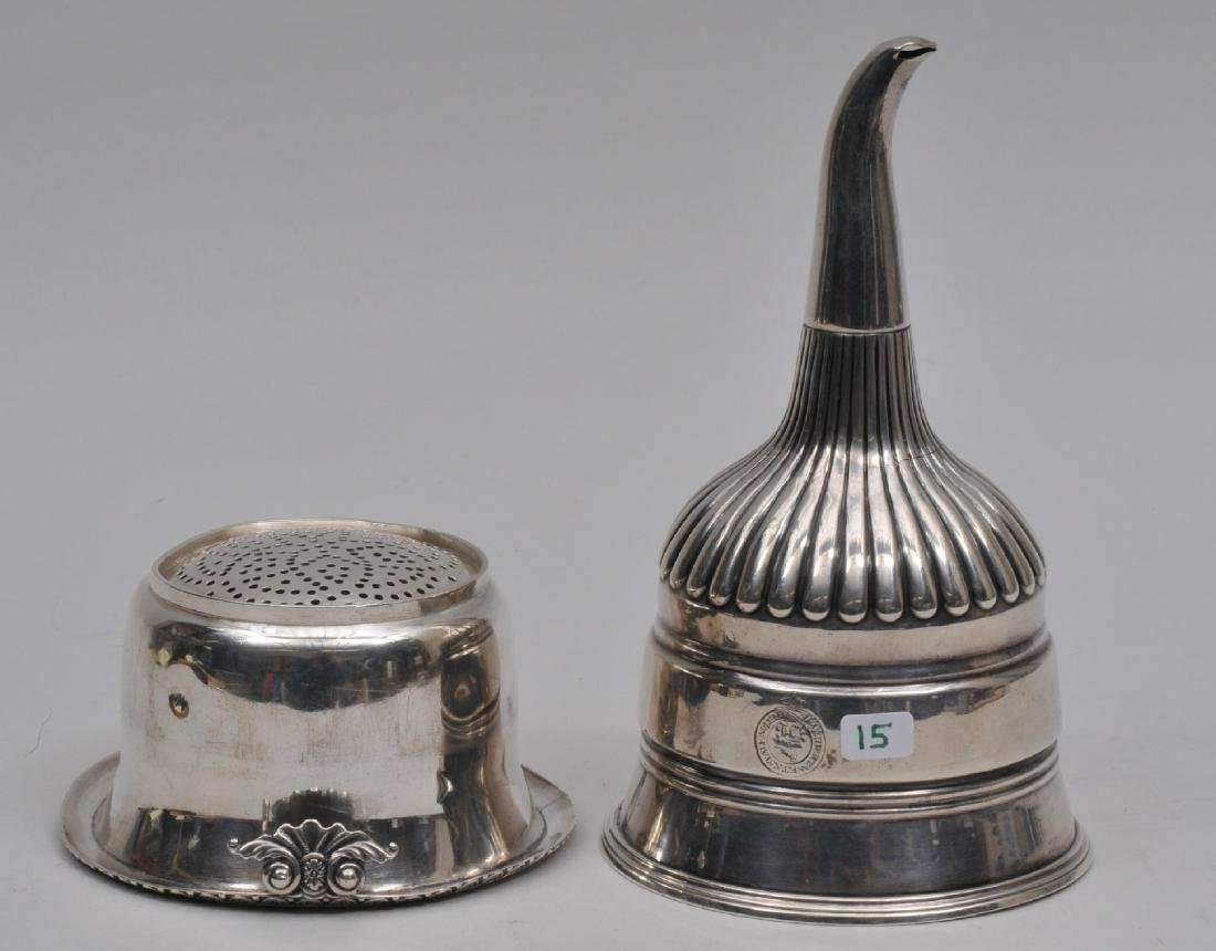 Georgian English Sterling Silver wine funnel. Two