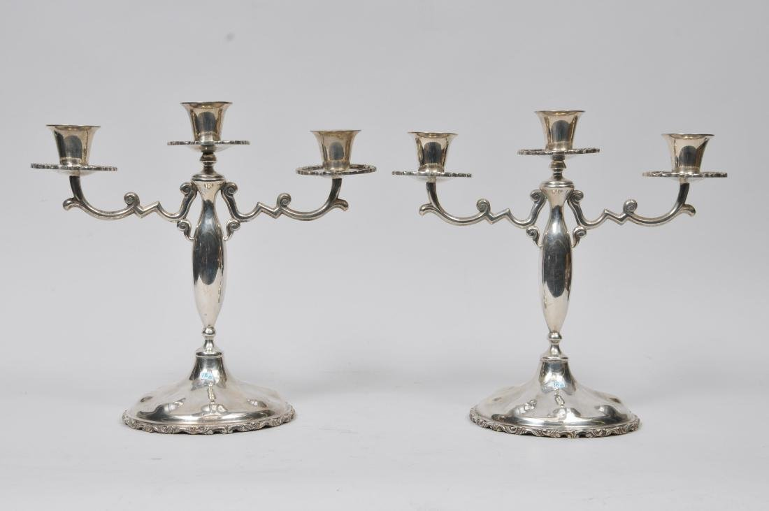Pair of Mexican Sterling Silver three-light