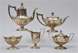 Gorham Sterling Silver five piece tea set. Coffee pot-