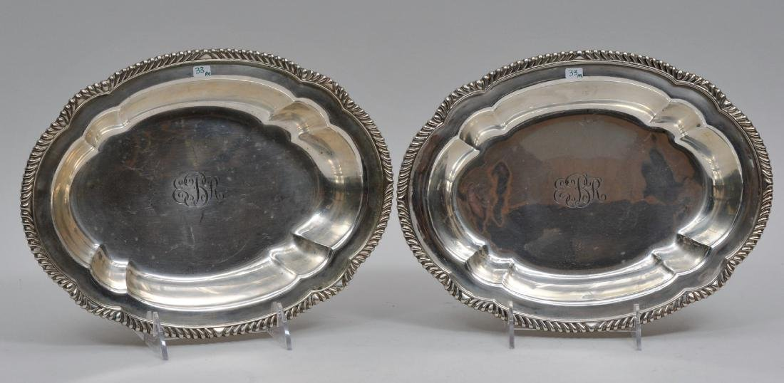 Pair of Gorham Sterling Silver gadrooned edge serving