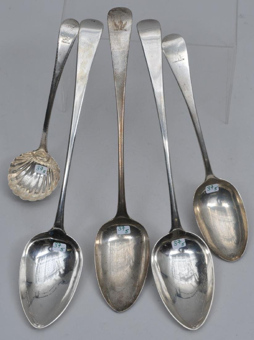 Lot of five early English Sterling Silver serving