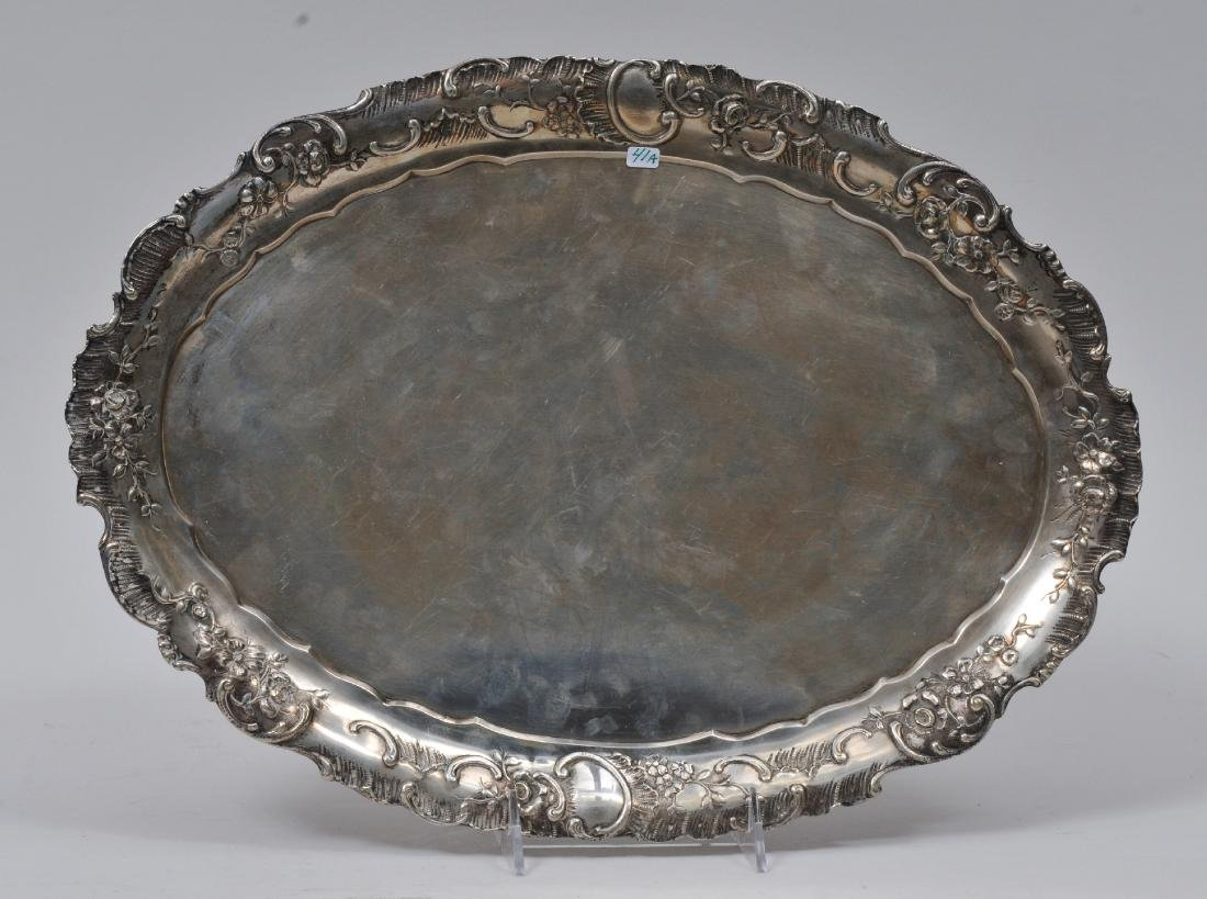 19th century Continental Silver oval tray with repousse