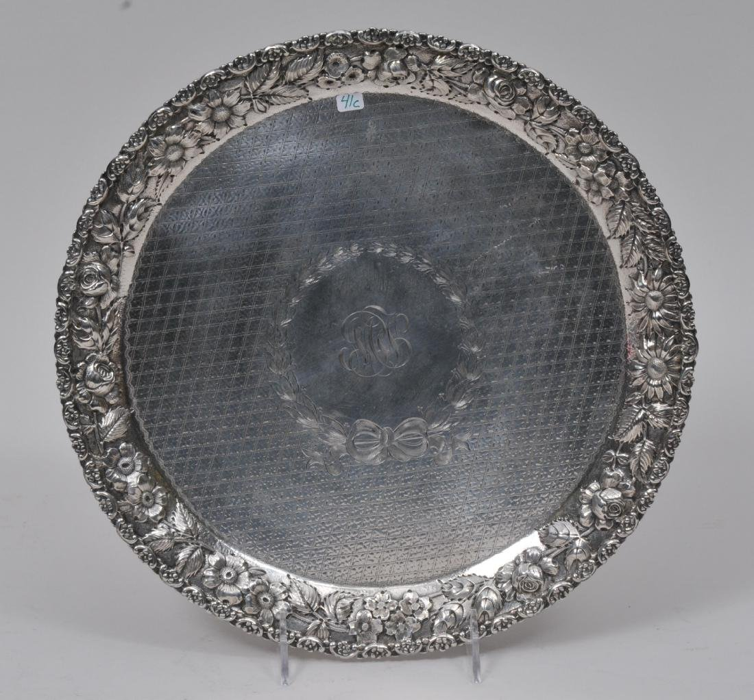 19th century Sterling Silver round tray with repousse