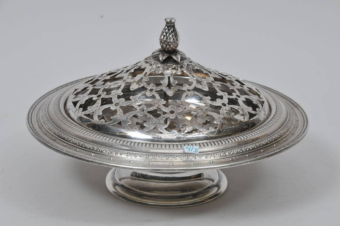 Sterling Silver center bowl with a pierced silver