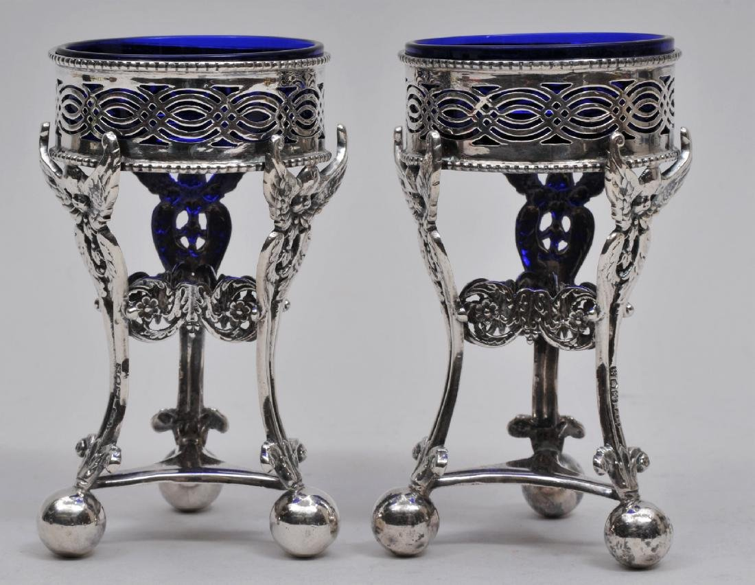 Pair of English Sterling Silver tall Master Salts with