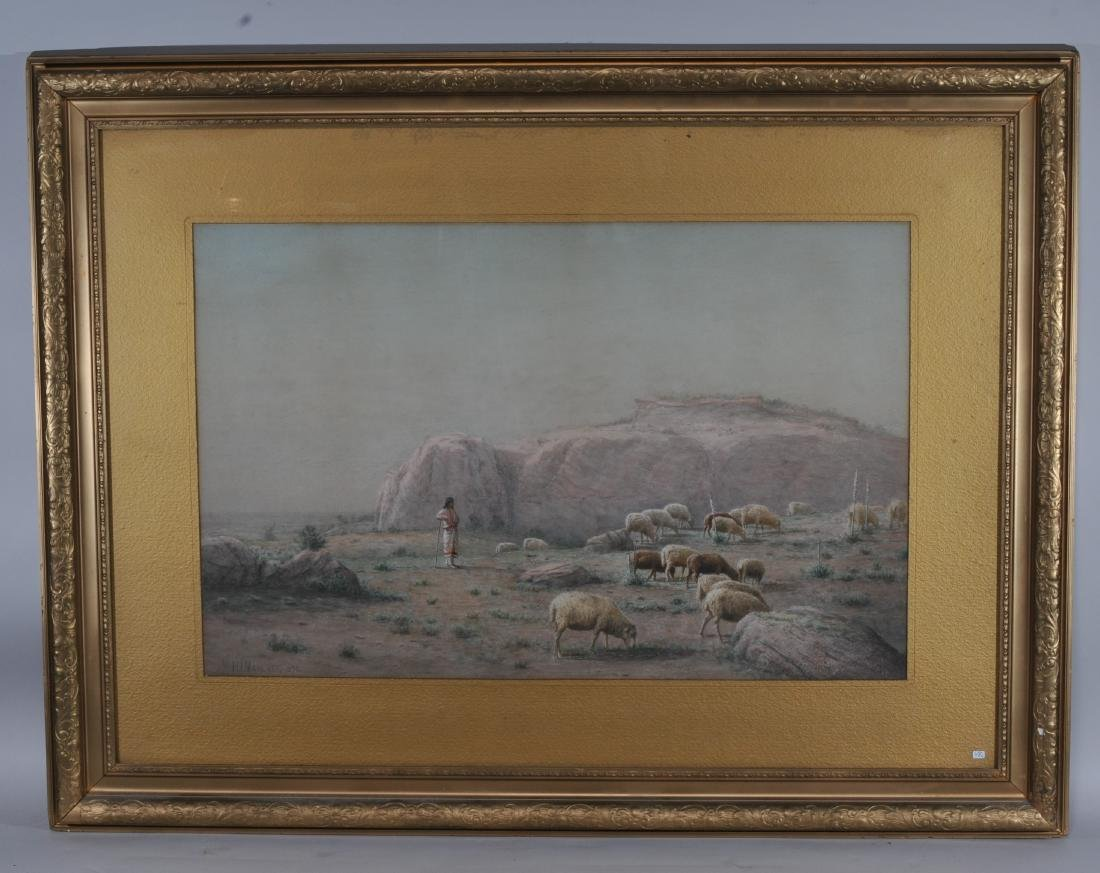 Hamilton Marlatt. Large Western scene watercolor