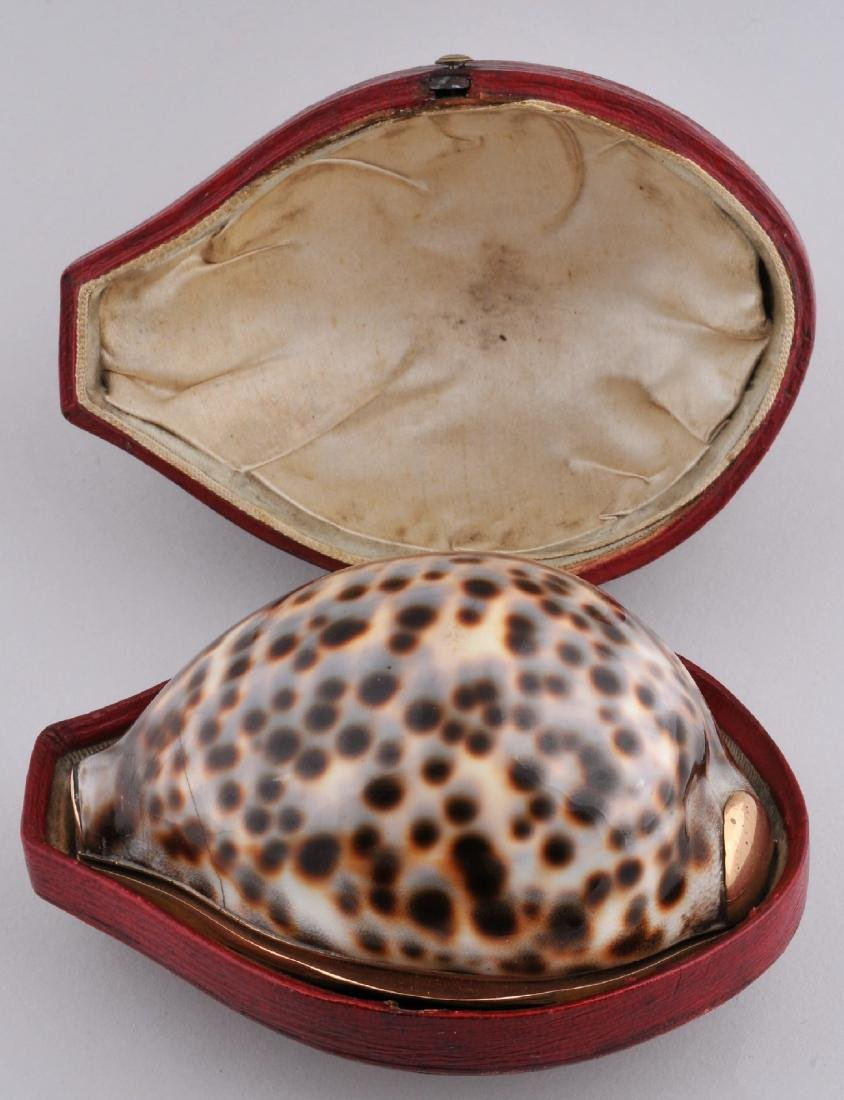 18th/19th century 14 kt gold mounted Cowrie shell box.