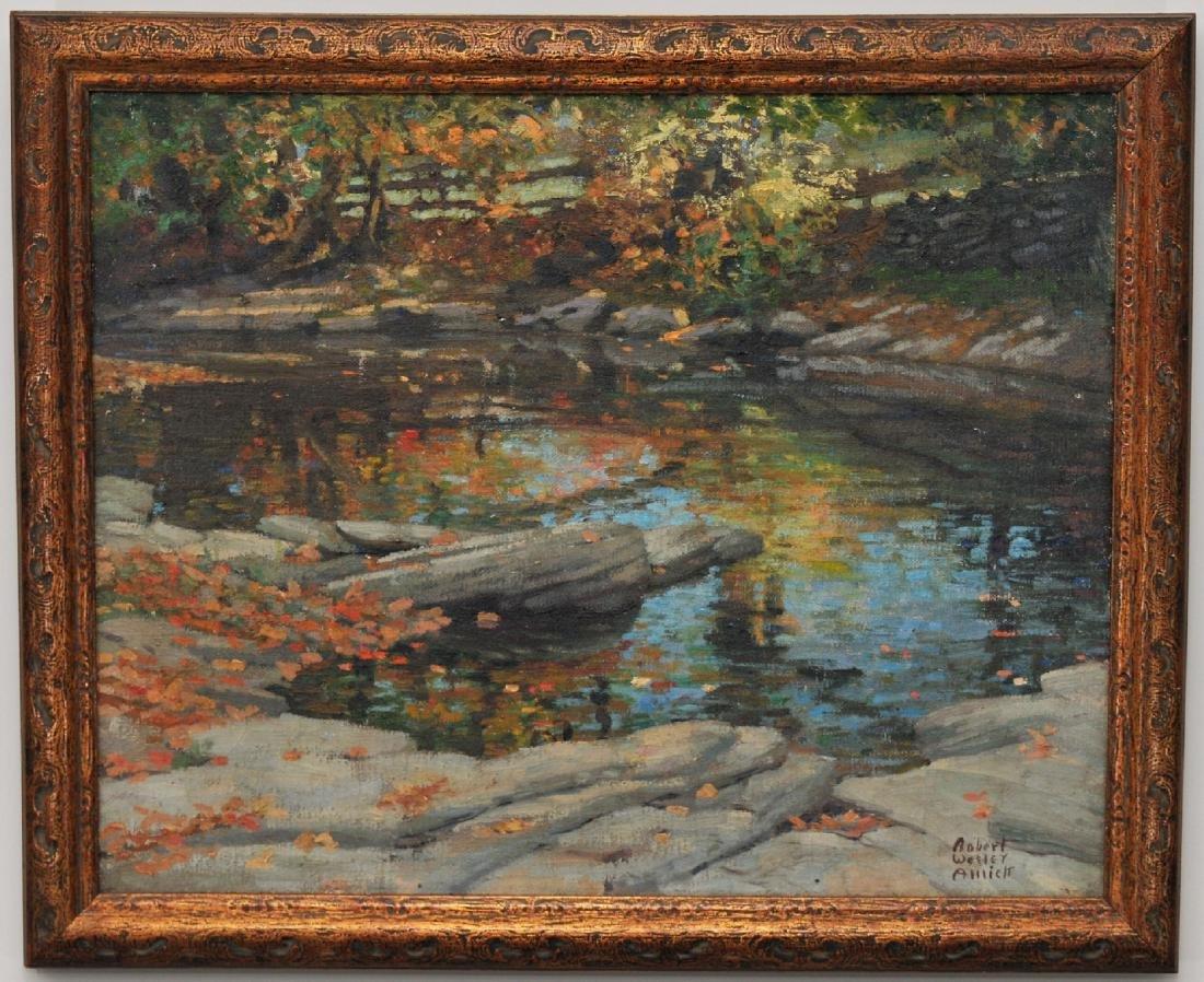 """Robert Wesley Amick. """"River Landscape"""". O/C. Framed."""