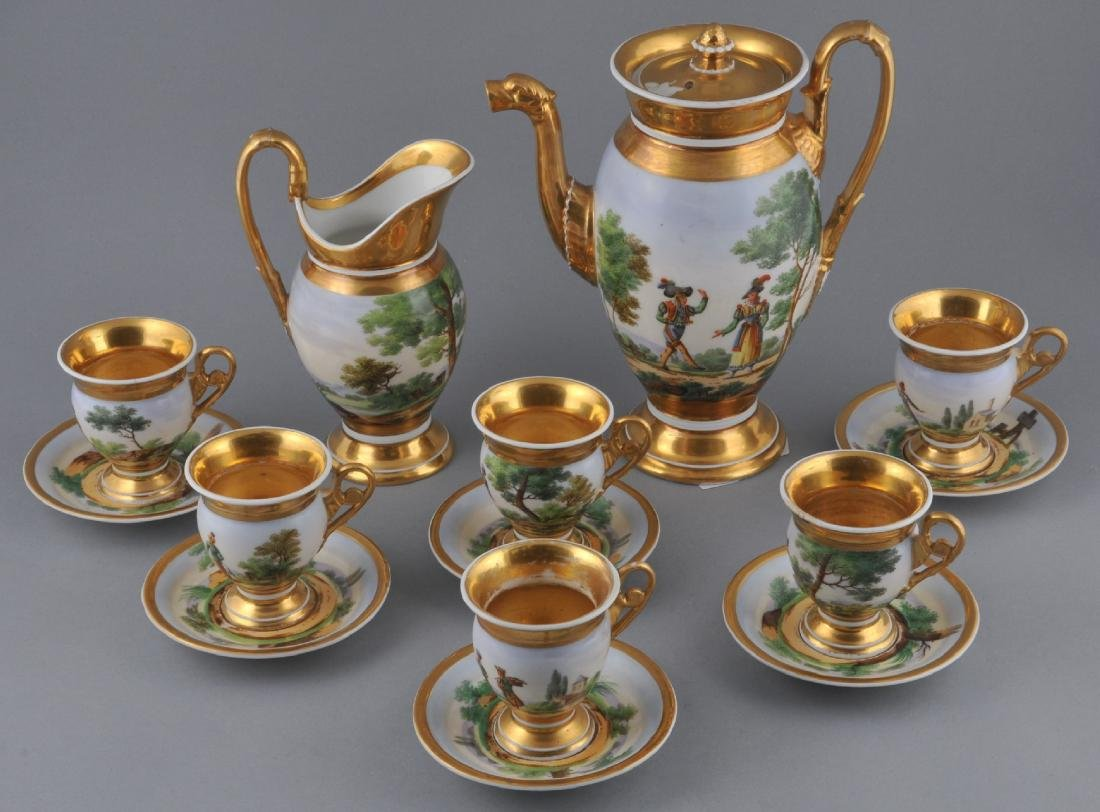 19th century porcelain partial Chocolate or Coffee set.